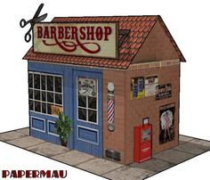 PAPERMAU: The Barber Shop Paper Model - by Papermau - Download Now!