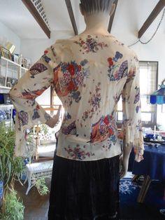 Size Large Vintage Rayon Flower Print Sheer Blouse with Ragged Angel Sleeves Hippie Sleeves Boho Sleeves Boho Clothes Boho Shirts Boho Shirt Vintage by LandofBridget