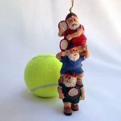 Three Stacked Tennis Playing Santas Ornament