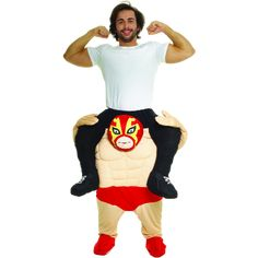 Create the ultimate tag team duo with this Wrestler Piggyback Mens Costume. This costume will make you look like you are riding on the shoulders of a wrestler. Funny Costumes, Boy Costumes, Costume Ideas, Popular Costumes, Costumes For Teens, Halloween Boo, Halloween Costumes, Halloween Tricks, Halloween Crafts