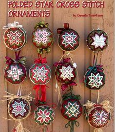 Folded Star Cross Stitch Ornaments Bluprint - DIY and crafts Cross Stitch Christmas Ornaments, Star Ornament, Ornament Crafts, Christmas Baubles, Christmas Cross, Diy Christmas Ornaments, Christmas Patchwork, Folded Fabric Ornaments, Quilted Ornaments