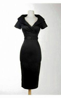 Christina dress in black sateen by Pinup Girl Clothing Moda Fashion, Retro Fashion, Vintage Fashion, Womens Fashion, Fashion Styles, Latest Fashion, Girl Fashion, Vintage Mode, Moda Vintage