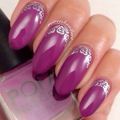 POFA Polish:  ☆ Jessica ☆ ... a purple polish with rose decals nail art
