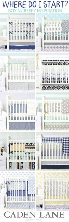 Start with the crib bedding! Find your inspiration in the fabrics and styles of your favorite boy baby bedding set and you'll be able to match paint colors and accessories that make the room perfect!