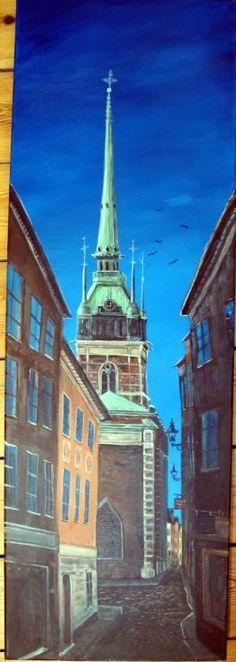"Buy The German Church, ""Tyska Kyrkan"", Acrylic painting by Sally Usher on…"