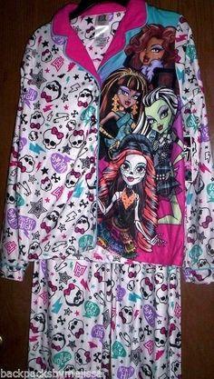 e896f2846b MONSTER High Fleece Pajamas Girls 7 8 NeW Button Down Shirt Pants Winter  Pjs NWT