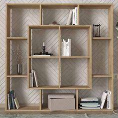 Όμορφη βιβλιοθήκη που είναι διαμπερές για να μην φορτώνει τον τοίχο. Grey Oak, Shelving, Bookcase, Home Decor, Base, Shelves, Shelving Racks, Bookshelves, Interior Design