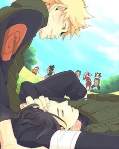 Sasuke is so beautiful I understand why Naruto is staring at him >> Dear. It's a SasuNaru fanart. That's why Naruto os staring at him. Sasuke X Naruto, Anime Naruto, Naruto Cute, Sasuke Sakura, Naruto Shippuden Anime, Hinata, Manga Anime, Sasunaru, Narusaku