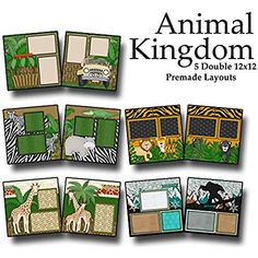 ANIMAL KINGDOM Scrapbook Set - 5 Double Page Layouts