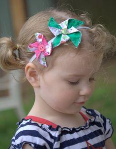 Toddler/Girls Pinwheel Headband Summer Fun by PolkaDottedPlaytpus, $5.00