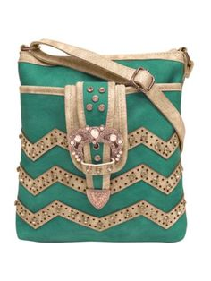 Turquoise and Beige Chevron Buckle Crossbody Bag