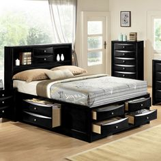 Black Emily Bookcase Headboard Queen King Captains Storage Bed w/ 6 Drawers