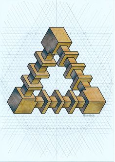 Impossible on Behance Graph Paper Drawings, Graph Paper Art, Pencil Art Drawings, Isometric Sketch, Isometric Paper, Sacred Geometry Patterns, Geometry Art, Solid Geometry, Op Art