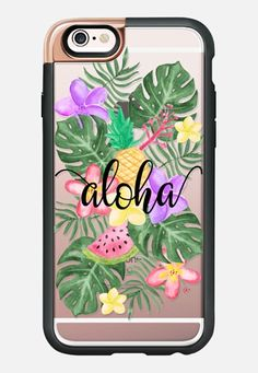 Casetify iPhone 7 Case and Other iPhone Covers - Tropical Watercolor Floral Leaves Aloha iPhone 6s Case by Ruby Ridge Studios | #Casetify