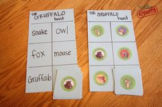 : The Gruffalo - some ideas to go with the book Gruffalo Activities, Gruffalo Party, The Gruffalo, Toddler Activities, Julia Donaldson Books, Gruffalo's Child, Holiday Club, Mo Willems, Small Cards