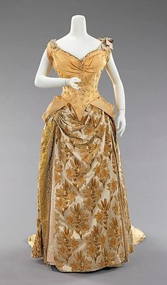 Evening ensemble with 2 Bodices Design House: House of Worth Designer: Charles Frederick Worth Date: ca. 1888 Culture: French Medium: silk Accession Number: 2009.300.1093a–e
