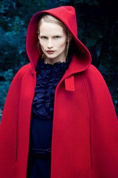 red hooded cape / Katrin Thormann by Erik Madigan Heck fir Harper's Bazaar UK September 2014