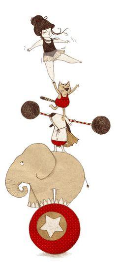 Idée illustration - Thème Cirque / Circus : Jeune fille sur ballon avec animaux #tpmm