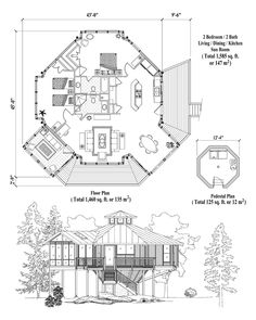 Online House Plan: 1585 sq. ft., 2 Bedrooms, 2 Baths, Pedestal Collection (PD-0426) by Topsider Homes.