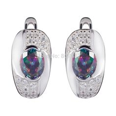 Eulonvan Best Sellers Rainbow Cubic Zirconia 925 sterling Silver Unique Wholesale Earrings fashion S--3720 First class products