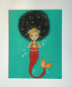 Bright. Mermaid. Playful. Afro Girl Art Print 8 x 10 signed and dated print of an original acrylic and pen painting Packaged on backing card