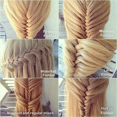 Photo by abellasbraids on Instagram.  Six different versions of the Fishtail Braid!