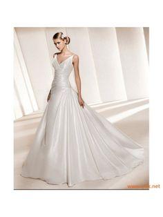 sleek wedding dress with full skirt
