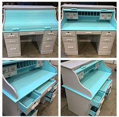 RePurpose Shop — RePurposed ReColored RollTop Desk in Turquoise & Flannel Gray Creative Furniture, Refurbished Furniture, Shabby Chic Vanity Table, Teal Sofa Living Room, Furniture Rehab, Furniture Projects, Diy Furniture, Desk, Roll Top Desk