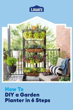 Pack a lot of plants into your balcony garden or other small space with this DIY planter box. The frame holds up to five long baskets you can fill with decorative plants, herbs or vegetables for your home garden.