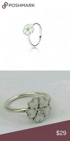 Sterling silver White Enamel  Ring 925 Sterling silver White Enamel Primrose  ring Pandora Jewelry Rings