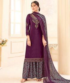 Purple Crepe Palazzo Suit 208015