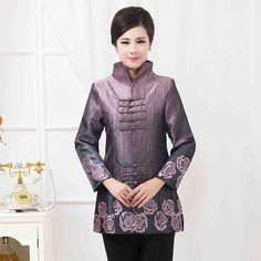 Beautiful Frog Button Chinese Tang Coat - Purple - Chinese Jackets & Coats - Women