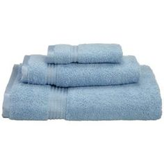 Set of three Egyptian cotton towels in light blue. Comes with one hand towel, one face towel, and one bath towel.Product: 1 Bath towel, 1 hand towel and 1 face cloth   Color: Light blue  Construction Material:  100% Egyptian cotton  Features: Extremely soft and absorbentExcellent update to any bathroom d�cor 900 Grams per square meter Dimensions:  Bath Towel: 30 x 54   Hand Towel: 16 x 30   Face Towel: 13 x 13      Cleaning and Care: Machine washable