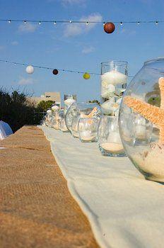 Wedding, Centerpiece, Beach, Burlap