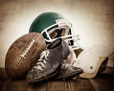 This listing is for One print of a 1950s vintage football, helmet, old football cleats and some old football pads. The brown, distressed tones will add so much warmth and character to your space. This would be a perfect print for your little boys room, nursery or a man cave!  Please select either