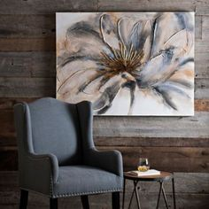Gold and Gray Bloom Canvas Art