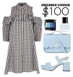 """""""Gingham dress under 100$"""" by kika-lv ❤ liked on Polyvore featuring Marc Jacobs, The Cambridge Satchel Company, River Island, Prada and Christian Dior"""