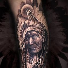 60 Best Native American Tattoo Designs To Inspire You # Tattoos, Native American Tattoo Indian Chief Tattoo, Cherokee Indian Tattoos, Native Indian Tattoos, Indian Feather Tattoos, Tribal Tattoos Native American, Native American Headdress, American Indian Tattoos, Native American Girls, Native American Fashion