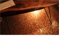 The most ambitious use of pennies I've seen yet. Or perhaps tied with the penny wall I once saw. I hope they never want to replace this floor! Penny Wall, Penny Tile Floors, Floors And More, Bedroom Flooring, Flooring Options, Diy Garden Decor, Mosaic Tiles, Home Projects, Entryway Tables