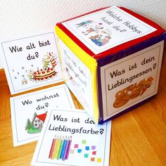 🎲 I have this great cube at @ grundschulteacher and . Kindergarten Portfolio, Kindergarten Activities, Instagram Advertising, Class Teacher, German Language Learning, Nursery School, Montessori Materials, Classroom Management, Kids And Parenting