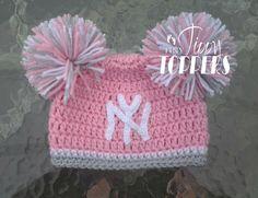 Crocheted NEW YORK YANKEES ny Hat Cap beanie baby girl ears or pom poms d05235b3aff