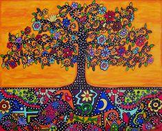 MEXICAN FOLK ART ORANGE TREE OF LIFE ETERNAL ROOTS ORIGINAL PAINTING 20 X 16