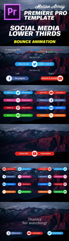 Social Media Lower Thirds is a cool Premiere Pro template with beautiful and smooth animations for most social media networks. This template is very easy to use and customize. Just change the text, customize the colors and you are done. Create your next amazing YouTube, Instagram, Twitter and Facebook videos using these amazing titles. #videoediting #motionarray #adobe #animation #template #socialmedia #titles #lower thirds #facebook #youtube #Instagram #twitter, #premiere #pro #network…
