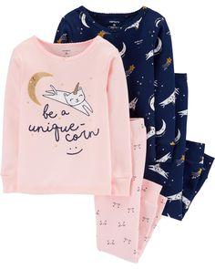 Carter's Little & Big Girls Cotton Snug-Fit Unique-Corn Pajamas Set - Navy/Pink Cotton Pjs, Girls Pajamas, Girls Sleepwear, Pajamas Women, Carters Baby Girl, Girls 4, Baby Girls, Toddler Girls, Pajama Set