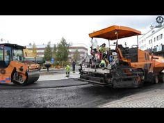 Paving  in north sweden with Dynapac Paver and Roller and Scania R480 Ho...