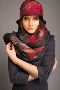 A personal favourite from my Etsy shop https://www.etsy.com/listing/205255367/silk-shawl-black-scarf-red-wool-yellow