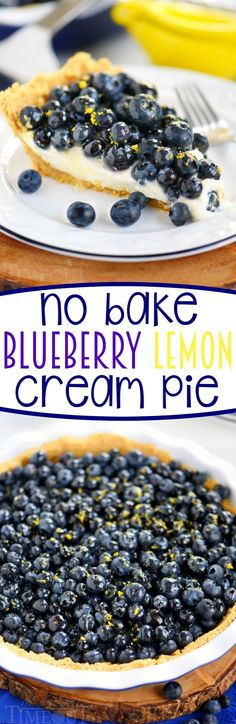This easy No Bake Blueberry Lemon Cream Pie is just what your summer needs! A graham cracker crust filled to the brim with a lemon cream filling, piled high with fresh blueberries and topped with a tart lemon glaze that's bound to make your mouth water. Sensational! // Mom On Timeout #pie #pierecipes #nobake #lemon #blueberry #dessert #desserts #sweets #summer