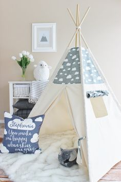GREY WHITE CLOUD Canvas Tipi Teepee Play Tent Play от AshleyGabby