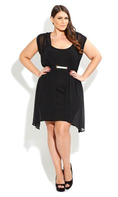 CITY CHIC -  METAL PLATE OVERLAY DRESS  - Women's plus size fashion