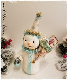 Folk Art paper Clay holiday SNOWMAN w TUSSIE MUSSIE w bottle brush tree & tiny faux vintage card  by Michelle Allen / Raggedy Pants Designs by RaggedyPantsDesigns on Etsy